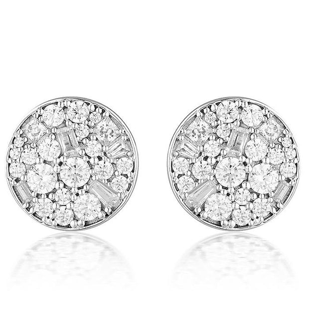 Georgini Mosaic Disc Silver Stud Earring Women's IE812W