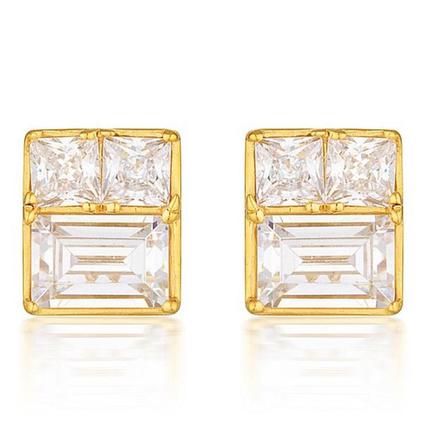 Georgini Elena Mosaic Gold Stud Earring Women's IE820G