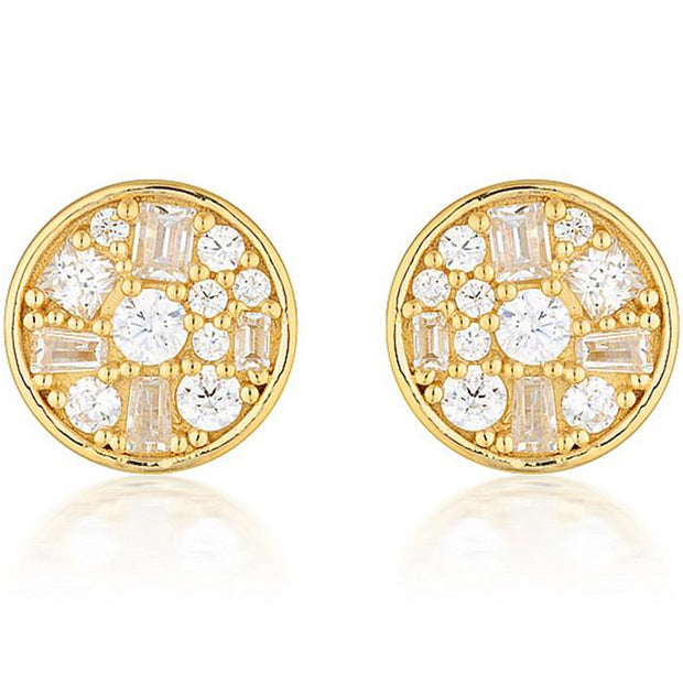 Georgini Mini Mosaic Gold Stud Earrings Women's IE821G-COCOMI Australia