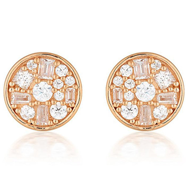 Georgini Mini Mosaic Rose Gold Stud Earrings Women's IE821RG