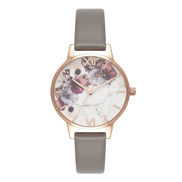 Olivia Burton Marble Florals Rose Gold 30 mm Women's Watches OB16MF08-Olivia Burton-COCOMI Australia