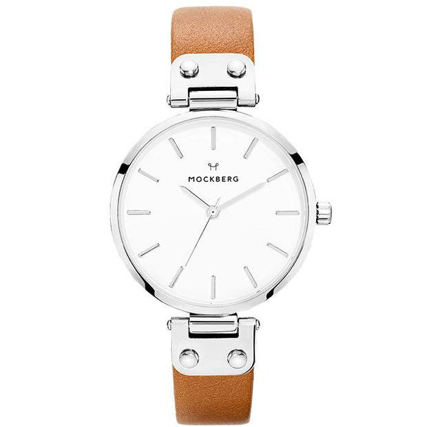 Mockberg White Leather 34mm Women's Watch (MO1006)