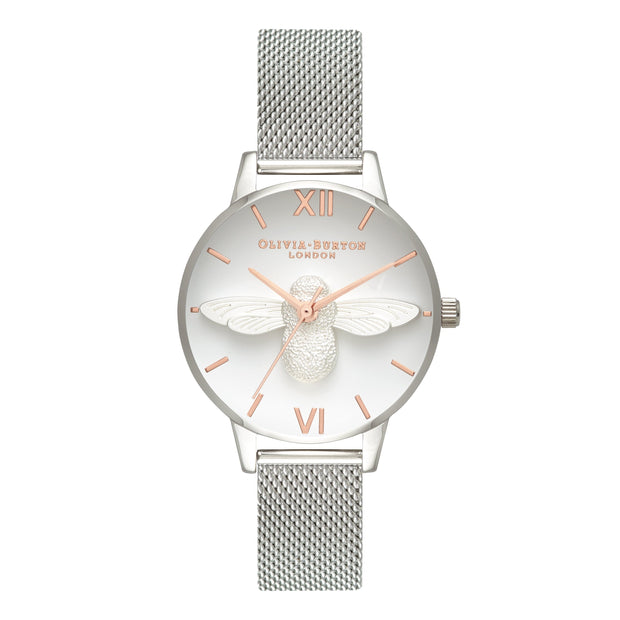 Olivia Burton 3D Bee Silver 30 mm Women's Watches OB16AM146-Olivia Burton-COCOMI Australia