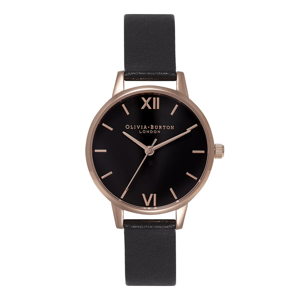 Olivia Burton Black Dial Sunray Rose Gold 30 mm Women's Watches OB16MD83-Olivia Burton-COCOMI Australia