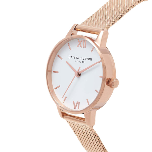 Olivia Burton White Dial Rose Gold 30 mm Women's Watches OB16MDW01-Olivia Burton-COCOMI Australia