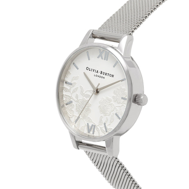 Olivia Burton Lace Detail Silver 30 mm Women's Watches OB16MV54-Olivia Burton-COCOMI Australia
