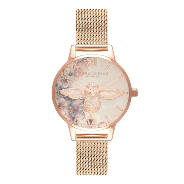 Olivia Burton Watercolour Florals Rose Gold 30 mm Women's Watches OB16PP40-Olivia Burton-COCOMI Australia