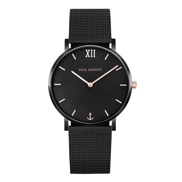 Paul Hewitt Sailor Line Black/golden,rose 33 mm Unisex Watches PH-SA-B-BSR-4S-Paul Hewitt-COCOMI Australia