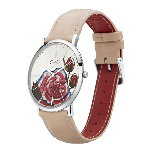 Rose & Coy Art Series Pink Rose Silver 40mm Women's Watches RCA0201-Rose&Coy-COCOMI Australia