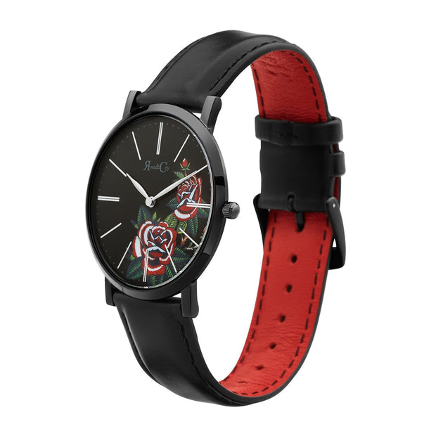 Rose & Coy Red Rose Black 40mm Unisex's Watches RCA1101