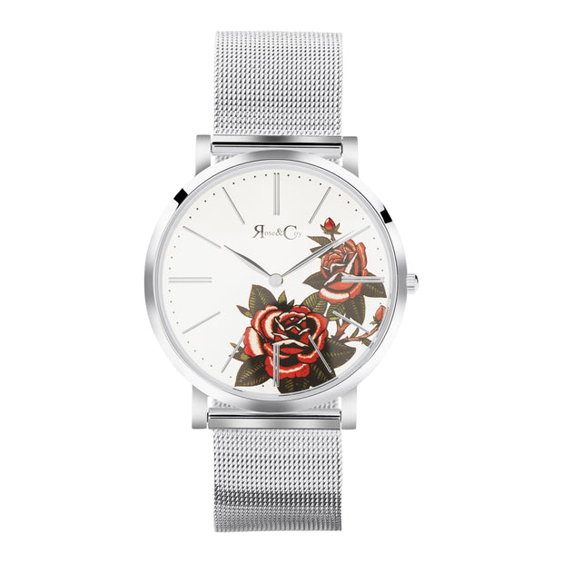 Rose & Coy Red Rose Silver 40mm Unisex's Watches RCA1103