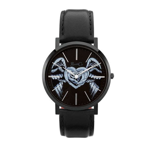 Rose & Coy Midnight Winged Rose Heart Black 40mm Unisex's Watches RCA1301