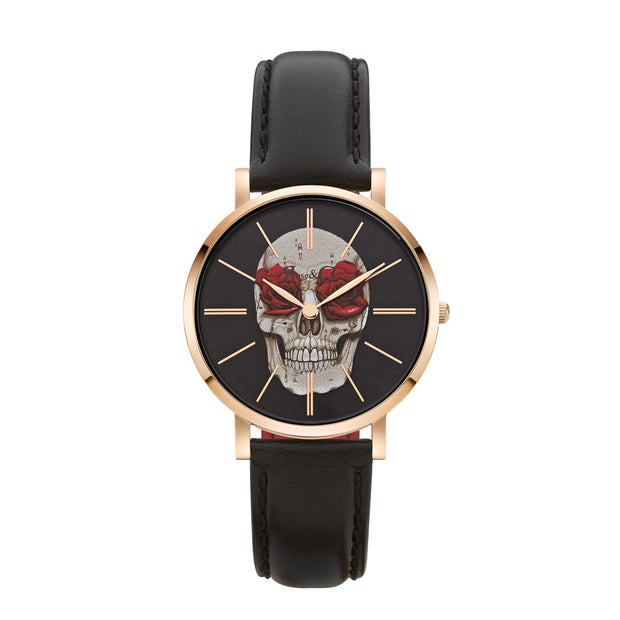 Rose & Coy Art Series Skull Rose Rose Gold 34mm Unisex's Watches RCAM0101