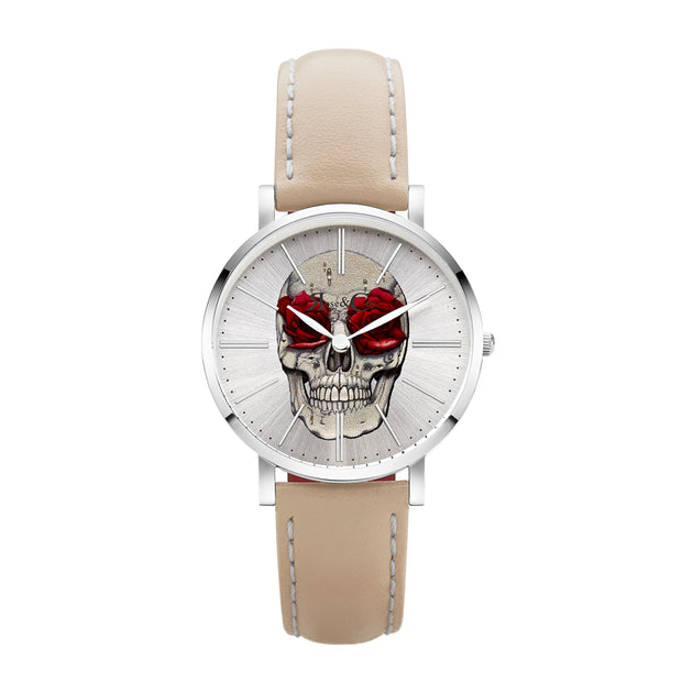 Rose & Coy Art Series Skull Rose Silver 34mm Unisex's Watches RCAM0103