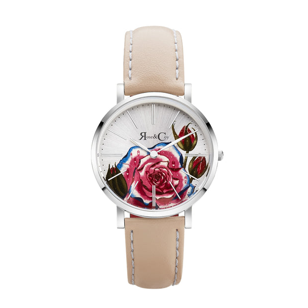 Rose & Coy Art Series Pink Rose Silver 34mm Unisex's Watches RCAM0201