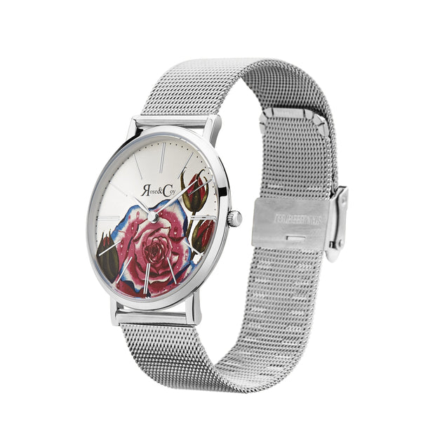 Rose & Coy Art Series Pink Rose Silver 34mm Women's Watches RCAM0202-Rose&Coy-COCOMI Australia