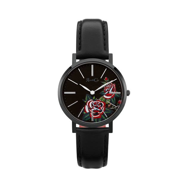 Rose & Coy Red Rose Black 34mm Unisex's Watches RCAM1101