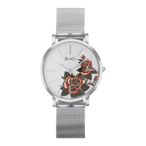 Rose & Coy Red Rose Silver 34mm Unisex's Watches RCAM1103