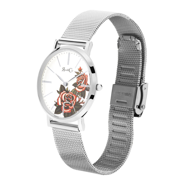 Rose & Coy Red Rose Silver 34mm Women's Watches RCAM1103-Rose&Coy-COCOMI Australia
