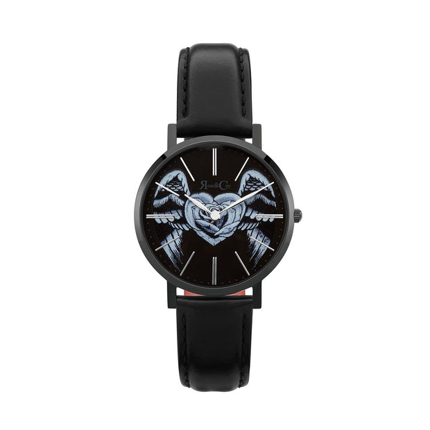 Rose & Coy Midnight Winged Rose Heart Black 34mm Unisex's Watches RCAM1301