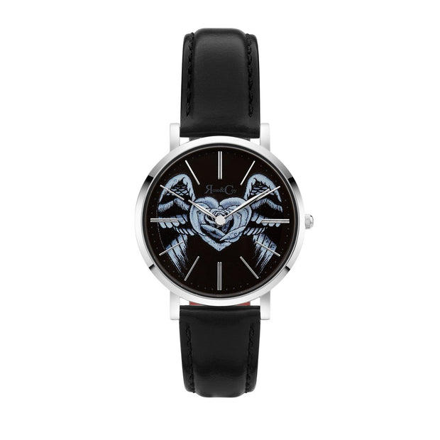 Rose & Coy Midnight Winged Rose Heart Silver 34mm Unisex's Watches RCAM1304