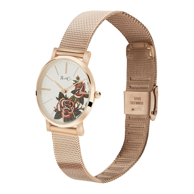Rose & Coy Red Rose Rose Gold 30mm Women's Watches RCAP1102