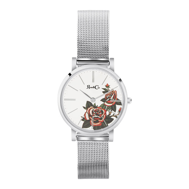 Rose & Coy Red Rose Silver 30mm Women's Watches RCAP1103
