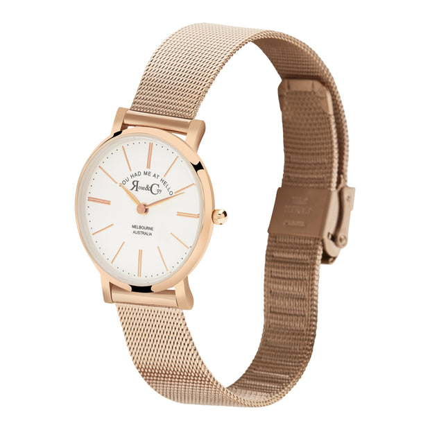 Rose & Coy You Had Me At Hello Rose Gold 30mm Women's Watches RCP1001