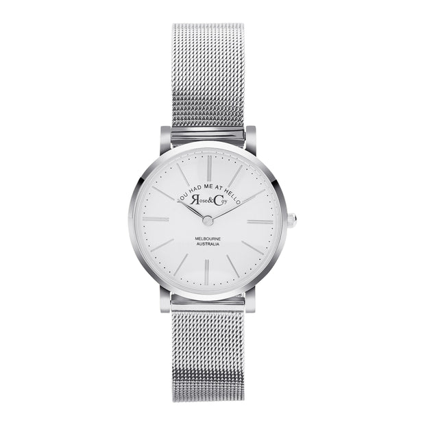 Rose & Coy You Had Me At Hello Silver 30mm Women's Watches RCP1002