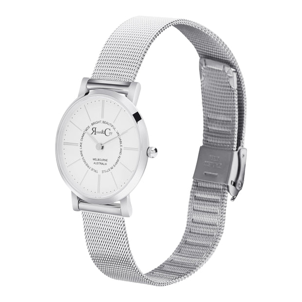 Rose & Coy Friends Are Like Diamonds Silver 30mm Women's Watches RCP1012-Rose&Coy-COCOMI Australia