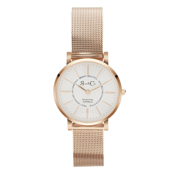 Rose & Coy Friends Are Like Diamonds Rose Gold 30mm Women's Watches RCP1011