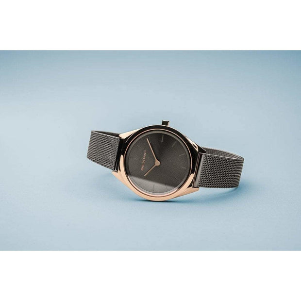 Bering Ultra Slim Polished Rose Gold Grey Mesh Watch-COCOMI Australia