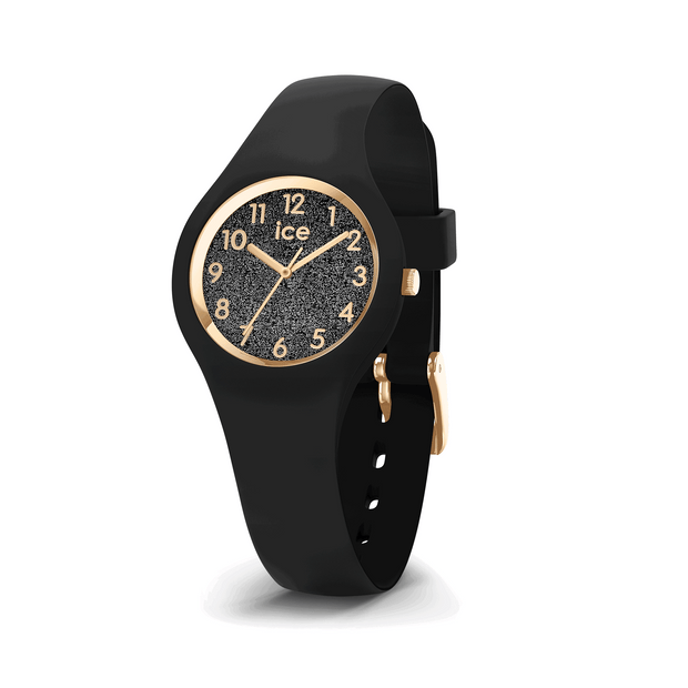 ICE WATCH Glitter Collection Gold Case 28mm (XS) Black Dial Black Strap-COCOMI Australia