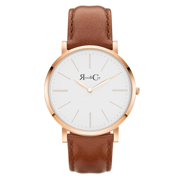 Pinnacle Ultra Slim 40mm Rose Gold | Brown Leather Watch-COCOMI Australia