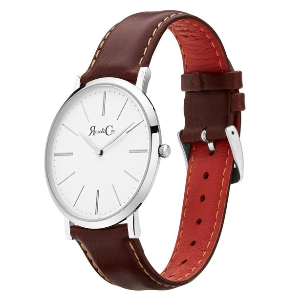 Pinnacle Ultra Slim 40mm Silver | Dark Brown Leather Watch-COCOMI Australia