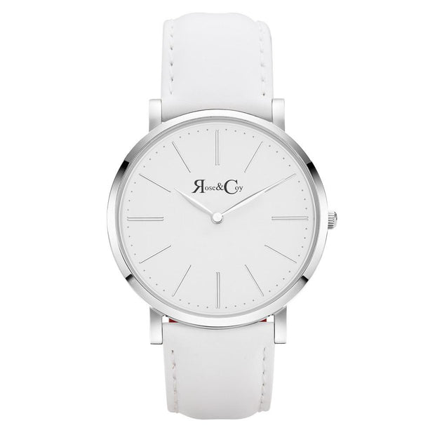 Pinnacle Ultra Slim 40mm Silver | White Leather Watch-COCOMI Australia