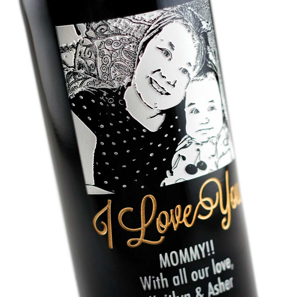 Personalized Etched Wine Bottle Gift for Mom