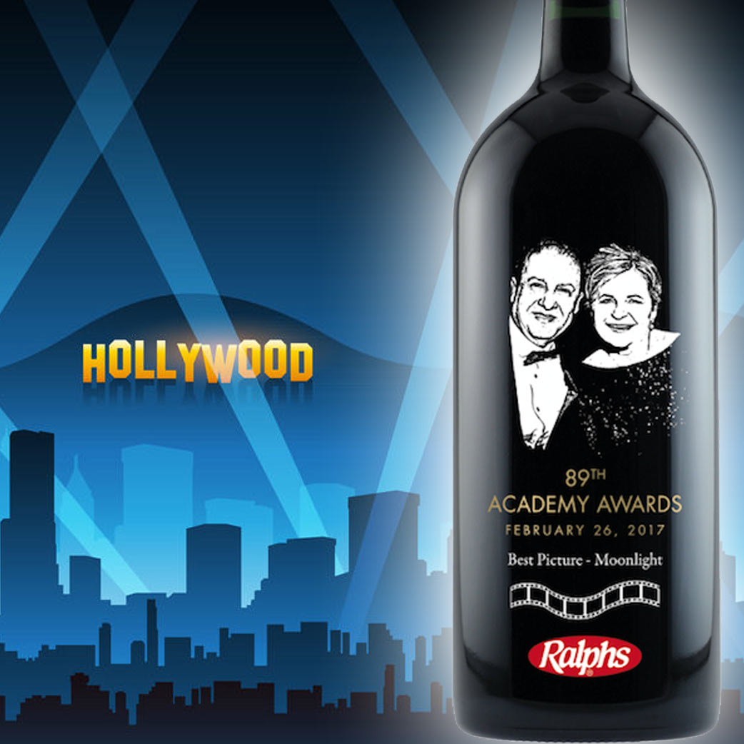 Personalized Etched Wine Bottle Gift Academy Awards