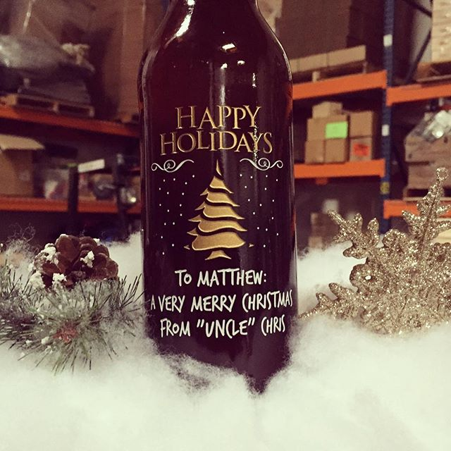 Happy Holidays custom etched wine bottle with Christmas tree design