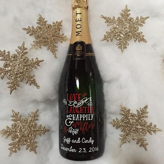 Christmas wedding custom champagne bottle by Etching Expressions