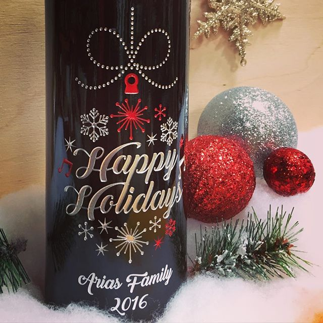 Happy Holidays custom wine bottle with ornaments design by Etching Expressions