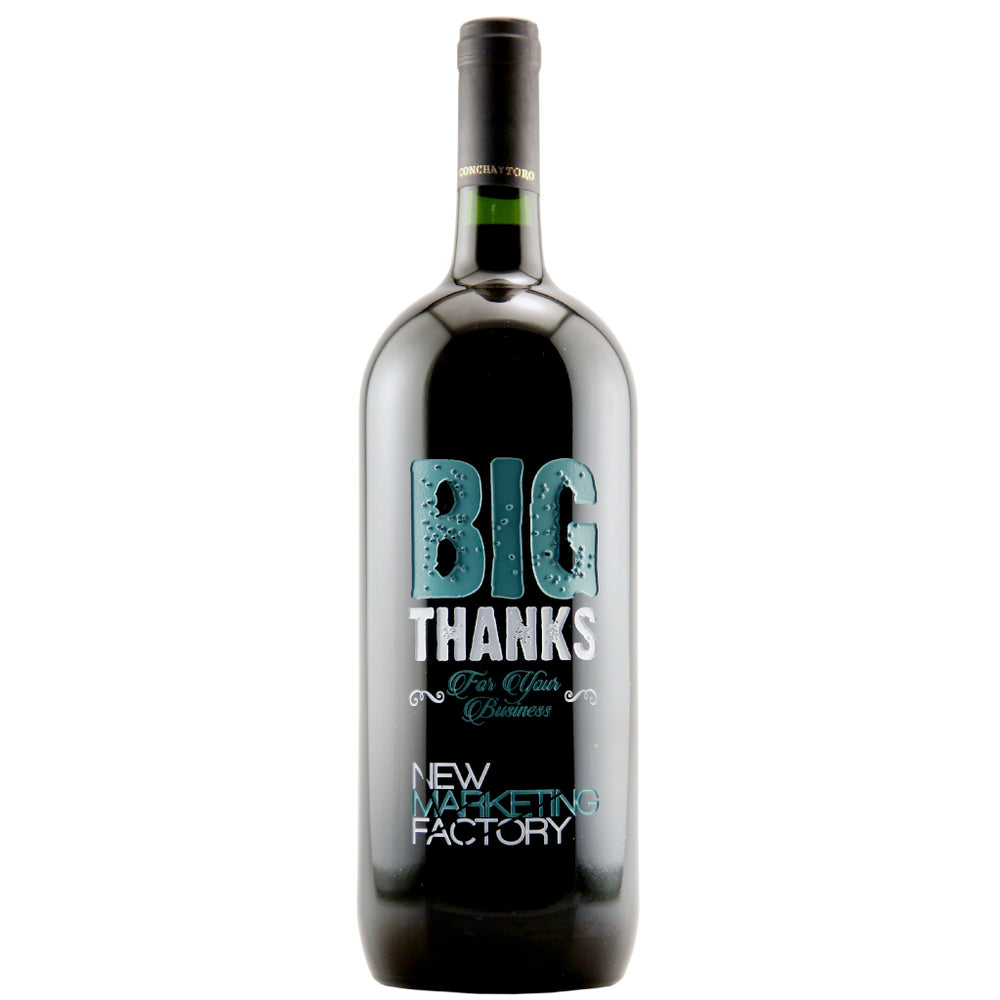 Etching Expressions Etched Magnum Wine Bottle Big Thanks To You Design