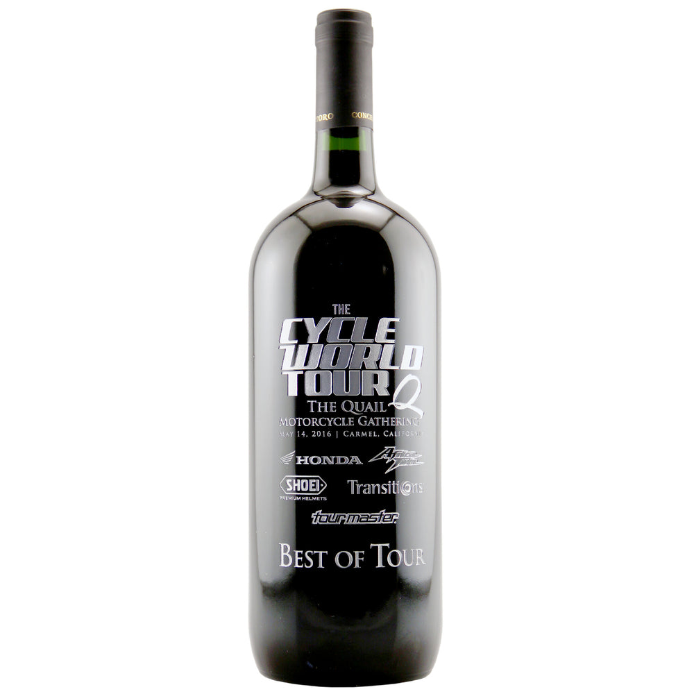 Cycle World Tour Etched Corporate Wine Bottle