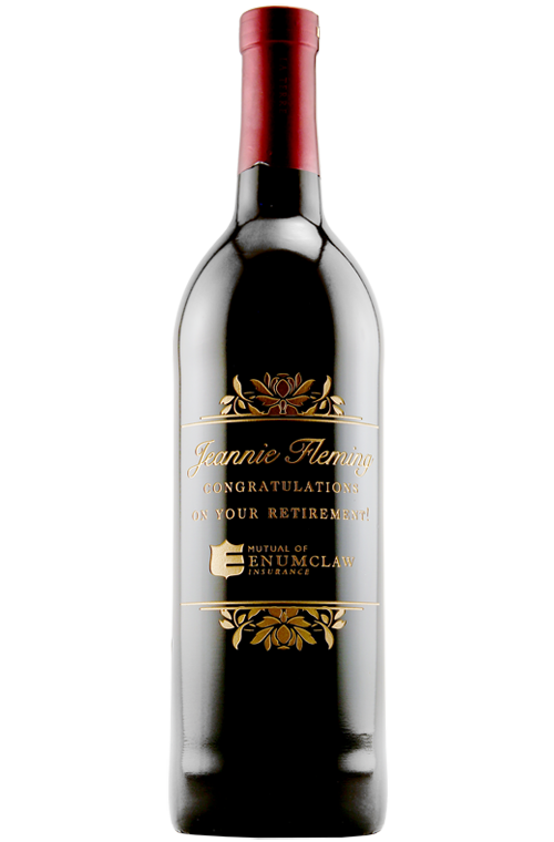 Etching Expressions Etched Red Wine Congratulations on Retirement Corporate Bottle