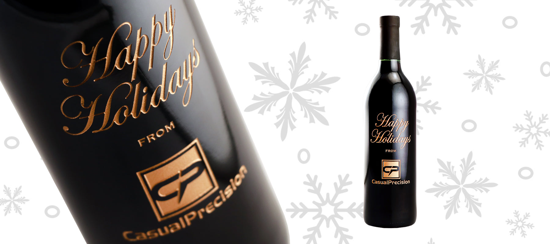 Happy Holidays custom etched wine company Christmas gift by Etching Expressions