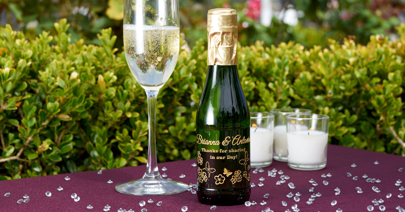 Personalised wine champagne bottle labels birthday thank you gift for wedding