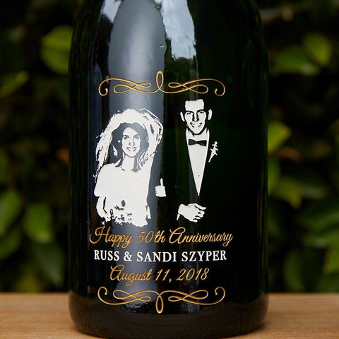 Custom photo engraved on champagne bottle for anniversary gift by Etching Expressions