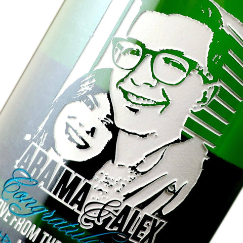 Custom photo engraved on a champagne bottle for wedding present by Etching Expressions