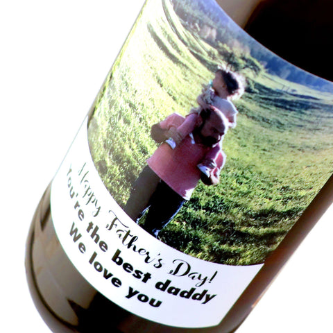 Custom photo labeled beer bottle for Father's Day gift by Etching Expressions
