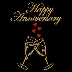 Happy Anniversary champagne flutes with heart bubbles design